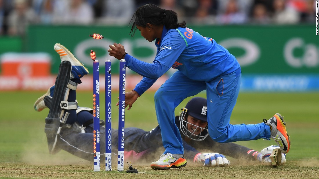 India's Rajeshwari Gayakwad tries to run out England's Jenny Gunn during the Women's World Cup final on Sunday, July 23. England won by nine runs.