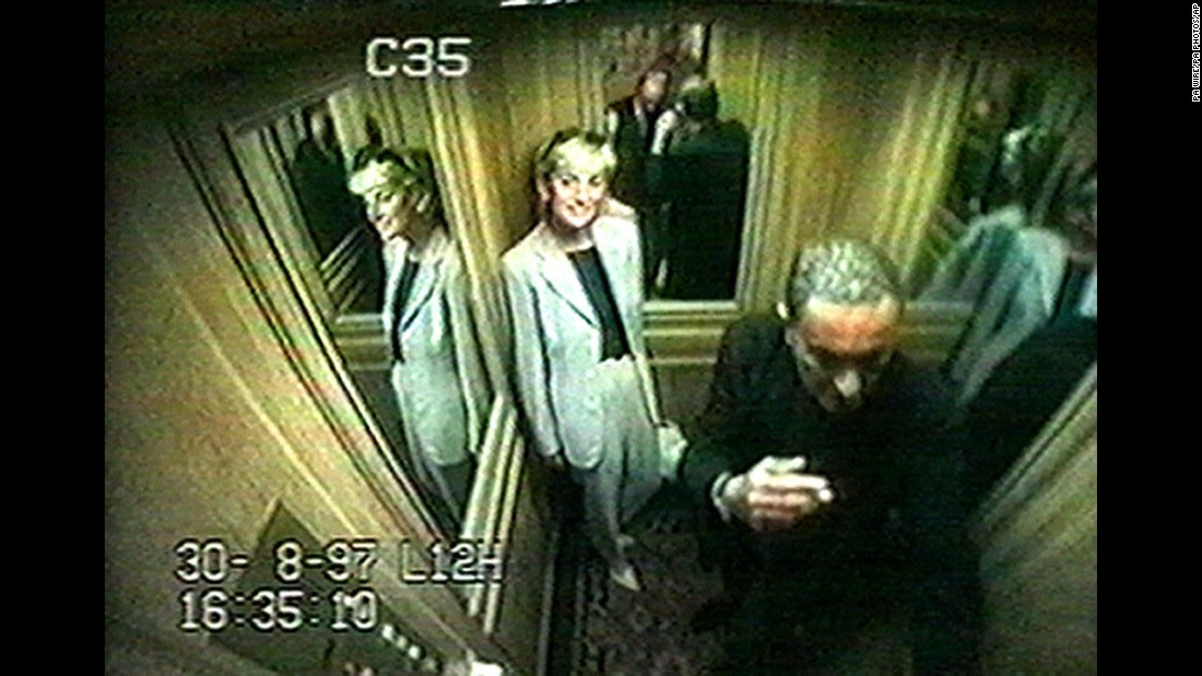 Diana is seen in a Ritz Hotel elevator with her boyfriend, Dodi Fayed. After leaving the hotel, the couple was killed in a high-speed car crash in the Pont de l'Alma tunnel in Paris.
