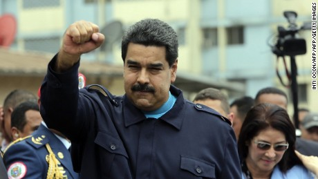 Venezuelan President Nicolas Maduro gestures after giving a speech during a visit at El Chorrillo neighborhood in Panama City on April 10, 2015. Regional leaders begin to arrive for a historic Summit of the Americas that will see the US and Cuban presidents sit face to face for the first time in decades.  AFP PHOTO / INTI OCON        (Photo credit should read Inti Ocon/AFP/Getty Images)