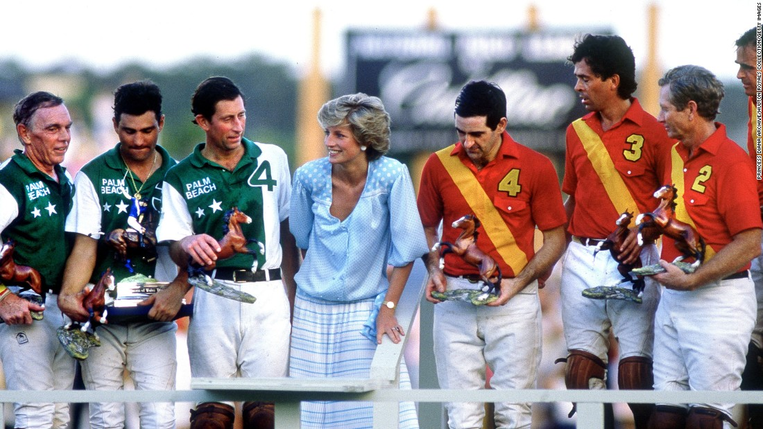 Diana attends a polo match that her husband played in Palm Beach, Florida, in November 1985.