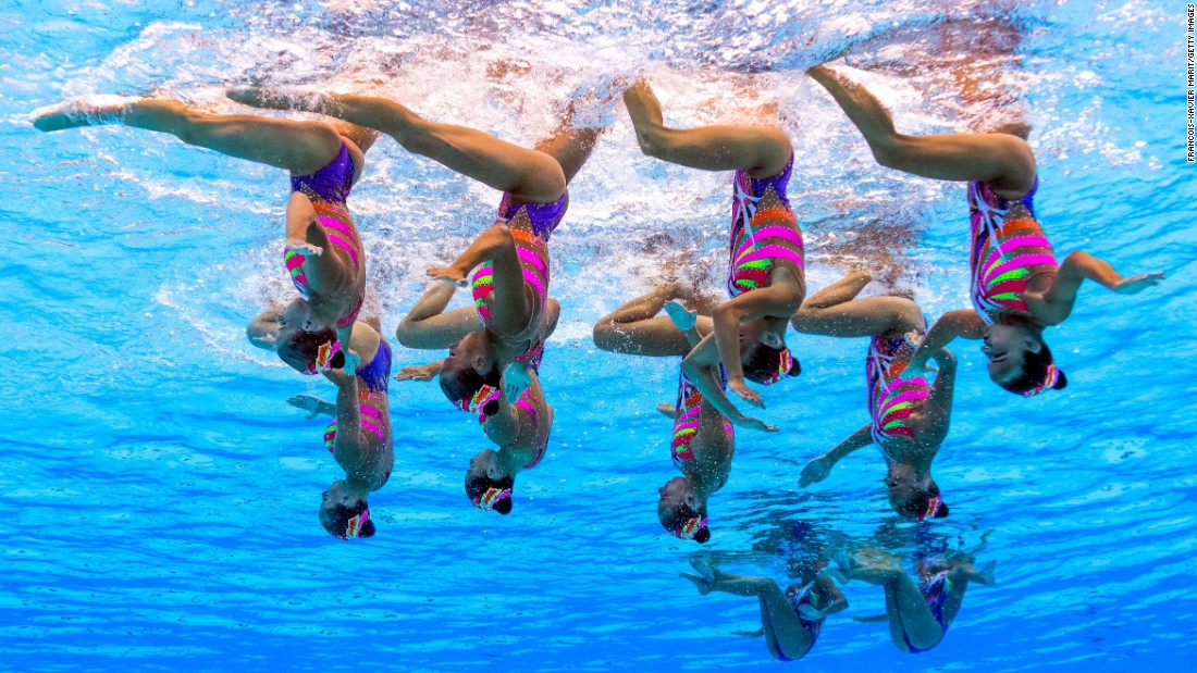 "Described as ""ballet in the water,"" synchronized swimming can necessitate up to six hours a day of daily practice ... and a fair bit of time underwater."