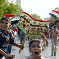 Iraq children football celebrate
