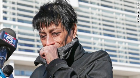 Evelyn Rodriguez, mother of Kayla Cuevas, 16, who was brutally slain last year -- allegedly by members of MS-13 -- weeps outside a courthouse in Central Islip in March.