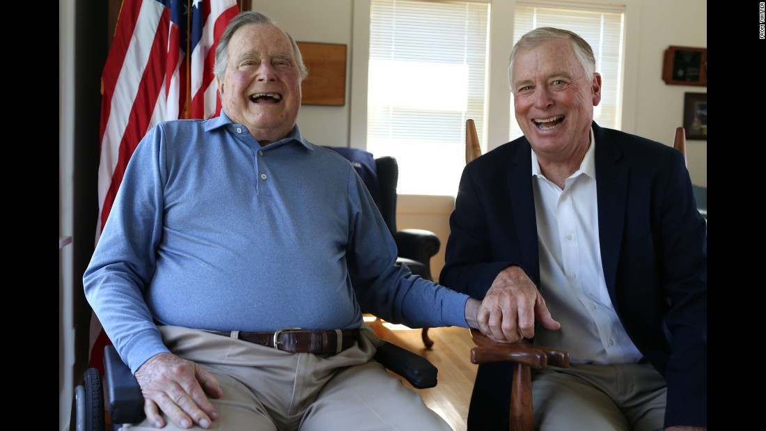 "Former US President George H.W. Bush, left, <a href=""https://twitter.com/GeorgeHWBush/status/890252139775262720"" target=""_blank"">tweeted this photo</a> of him and former Vice President Dan Quayle on Wednesday, July 26. ""Joyful reunion with a great friend and a wonderful public servant,"" Bush said. ""Lucky to have had Dan by my side during 4 years of challenge and change."""