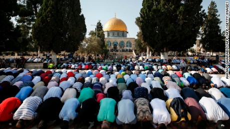 Palestinian Muslims bow in prayer inside the Haram al-Sharif compound, known to Jews as the Temple Mount, in the old city of Jerusalem.