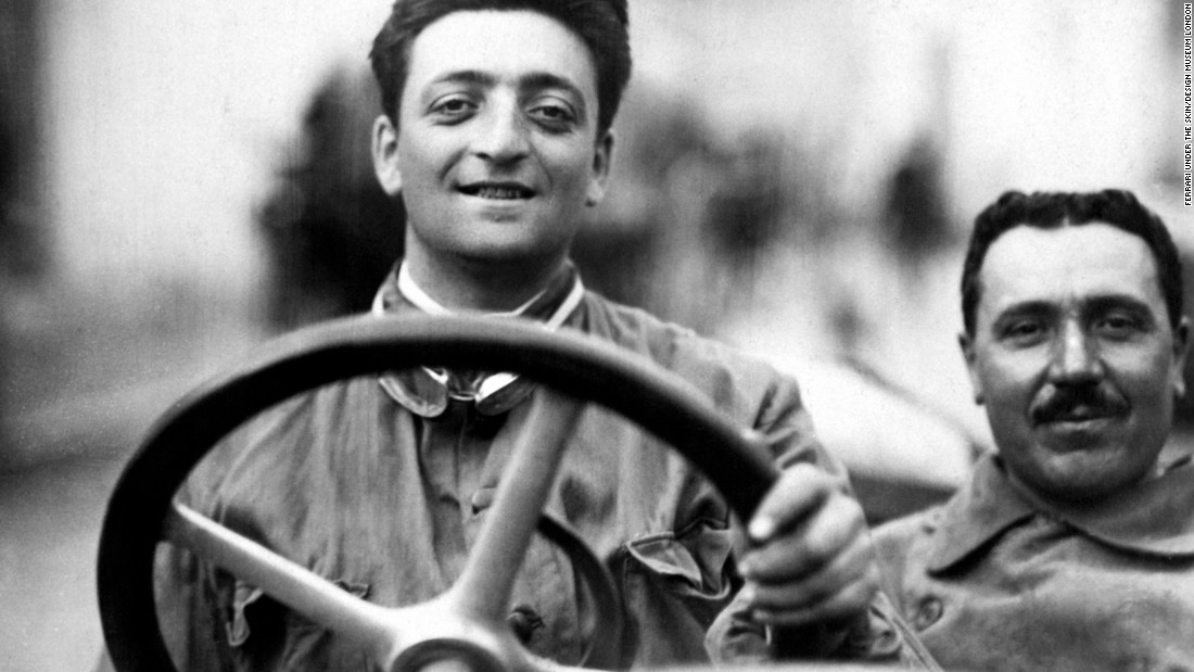 "Born in 1898 on the outskirts of Modena -- known for ""fast cars and slow food"" -- the company's founder Enzo Ferrari devoted his entire life to the pursuit of speed. The Italian is pictured here as a young man sitting in an Alfa Romeo 40-60 HP Racing Type."