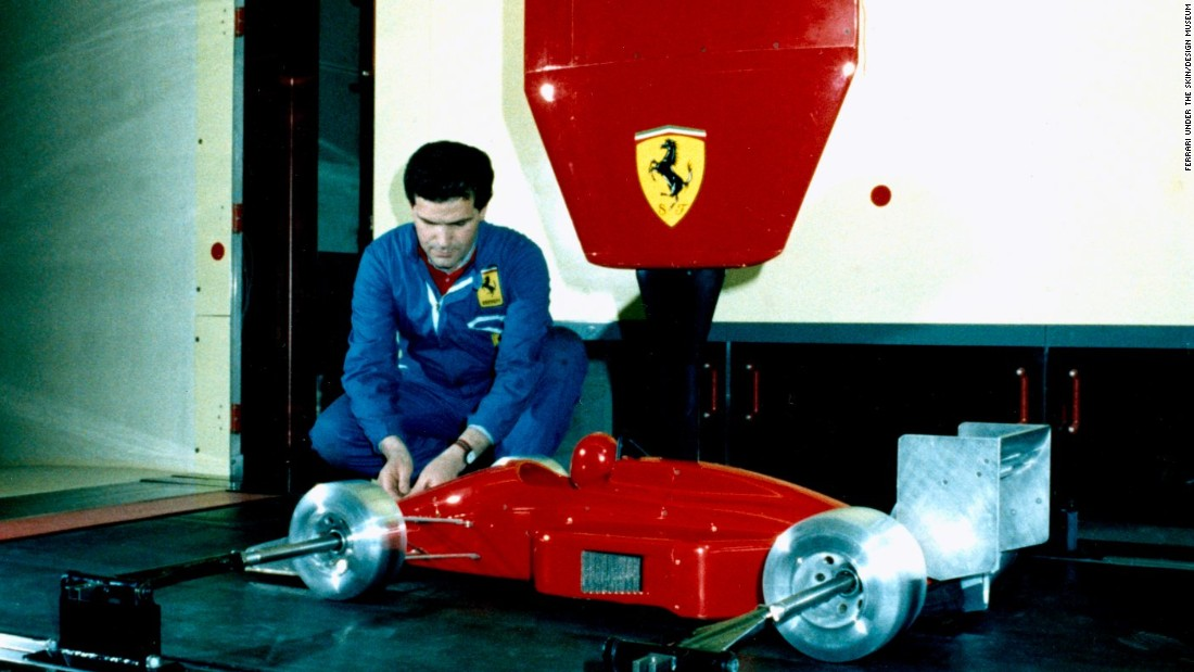 Ferrari tested new designs using 1/3 scale models -- on show at the exhibition.