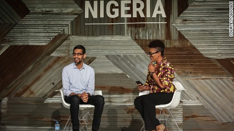 Google CEO Sundar Pichai at Google for Nigeria event in Lagos Thursday. He announced Google's commitment to train 10 million people over the next five years in Africa. Photo/ Courtesy of Google Africa Blog.