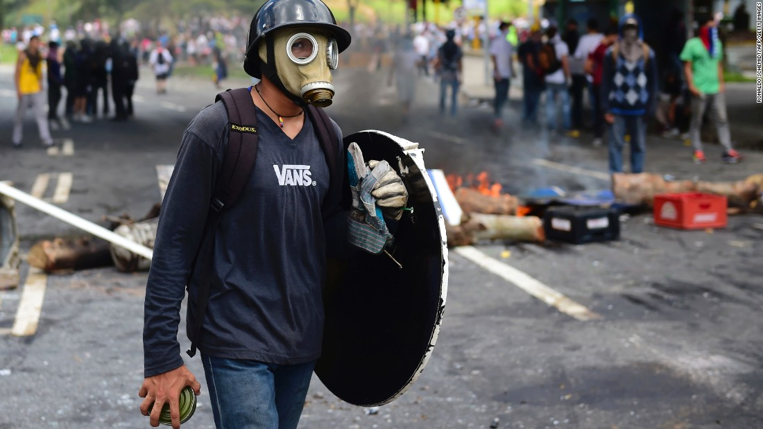 Anti-government protesters set up a barricade in Caracas to protest the election for a Constituent Assembly.