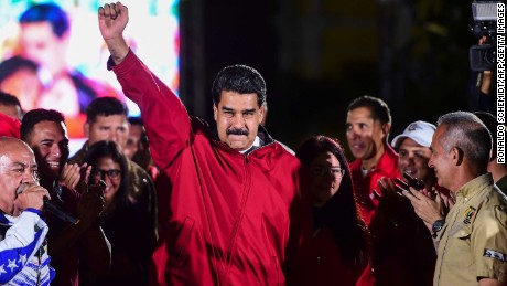 "TOPSHOT - Venezuelan president Nicolas Maduro celebrates the results of ""Constituent Assembly"", in Caracas, on July 31, 2017.