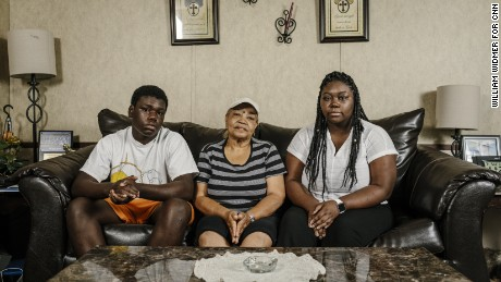 Carolyn Ruffin is raising her grandchildren -- Corey, 13; and Courtney, 23 -- after their mother's death in the August 2016 flood.