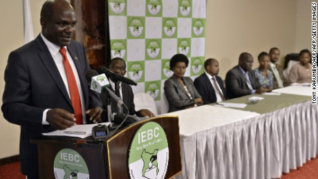 Wafula Chebukati, chairman of Kenya's Independent Electoral and Boundaries Commission (IEBC) Chairman, speaks to journalists in February.