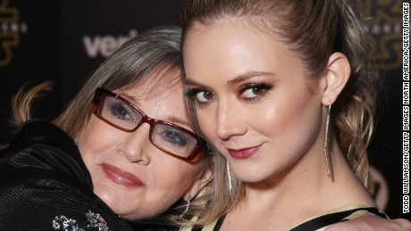 "Carrie Fisher (L) and Billie Lourd attend the premiere of ""Star Wars: The Force Awakens"" on December 14, 2015 in Hollywood, California."