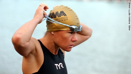 Mirinda Carfrae of Australia prepares for the swim section of Ironman Austria in 2016.