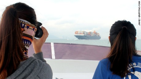 Charlotte Lau and Viena Mak from the Hong Kong Dolphin Conservation Society survey the waters near Lantau Island.