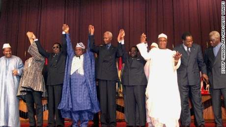 Leaders pose for a group picture at the 1999 ECOWAS summit in Togo.