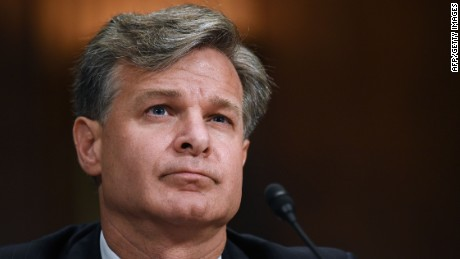 Christopher Wray testifies before the Senate Judiciary Committee on his nomination to be director of the FBI on July 12, 2017. AFP/Getty Images