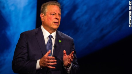 Former U.S. Vice President Al Gore participates in a town hall style televised event, hosted by CNN presenter and journalist Anderson Cooper, New York, August 1, 2017  Timothy Fadek for CNN