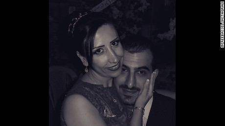 Bassel Khartabil and his wife on their wedding day.