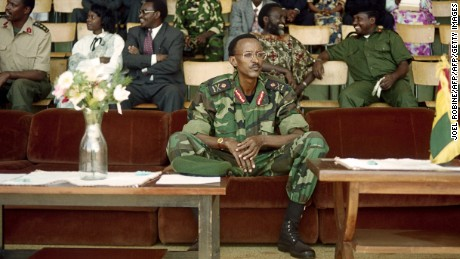 Rwanda's then-Vice President Paul Kagame watches a military rally in Kigali on October 1, 1994.