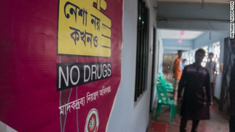 A sign points the way into a rehab in Cox's Bazar in Bangladesh. Since the yaba methamphetamine crisis began, 80% of clients here are using the drug problematically.