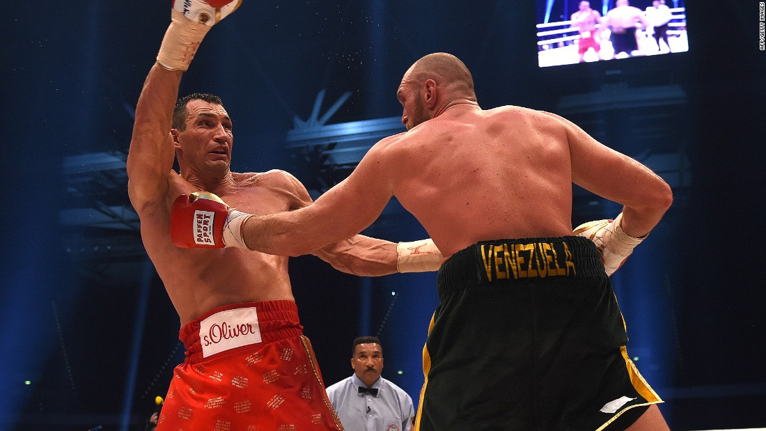 Klitschko in action against Tyson Fury in November 2015. The Briton defeated the Ukrainian on points in their during their WBA, IBF, WBO and IBO title bout in Duesseldorf, Germany.