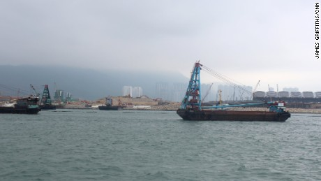 Reclamation work ongoing at a site near Hong Kong International Airport on Chep Lap Kok island.