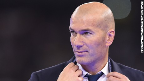 Real Madrid's French coach Zinedine Zidane is pictured after Real Madrid won the UEFA Champions League final football match between Juventus and Real Madrid at The Principality Stadium in Cardiff, south Wales, on June 3, 2017. / AFP PHOTO / Filippo MONTEFORTE        (Photo credit should read FILIPPO MONTEFORTE/AFP/Getty Images)
