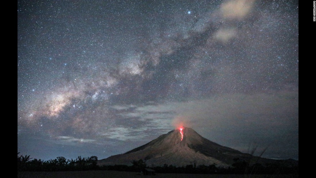 This long-exposure photo, taken in Karo, Indonesia, shows lava spilling from the Mount Sinabung volcano on Wednesday, August 2. Mount Sinabung is one of the most active volcanoes in Indonesia.