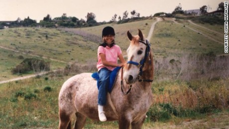 Hamasaki's first horse, Lindy, an Appaloosa mare who loved to run off as they rode.