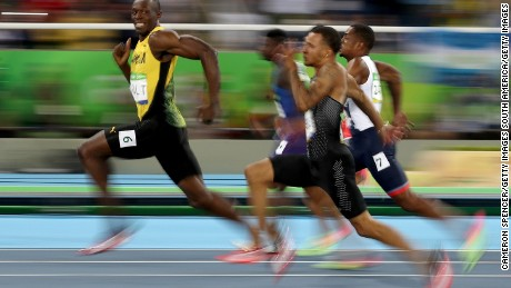 The iconic image of Bolt while competing in the men's 100m in Rio
