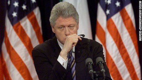 "WASHINGTON, :  US President Bill Clinton pauses a moment while being asked about former White House intern Monica Lewinsky at a joint press conference with Italian Prime Minister Massimo D'Alema 05 March in the White House in Washington, DC. Clinton said he hoped Monica Lewinsky would have ""a good life"" and get any  help she might need to recover from the traumatic White House sex scandal.    (ELECTRONIC IMAGE) AFP PHOTO/Stephen JAFFE (Photo credit should read STEPHEN JAFFE/AFP/Getty Images)"