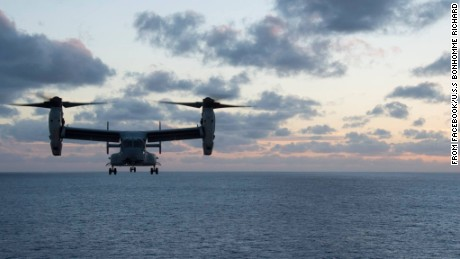 An aircraft such as this MV-22 pictured here was trying to land on a ship.