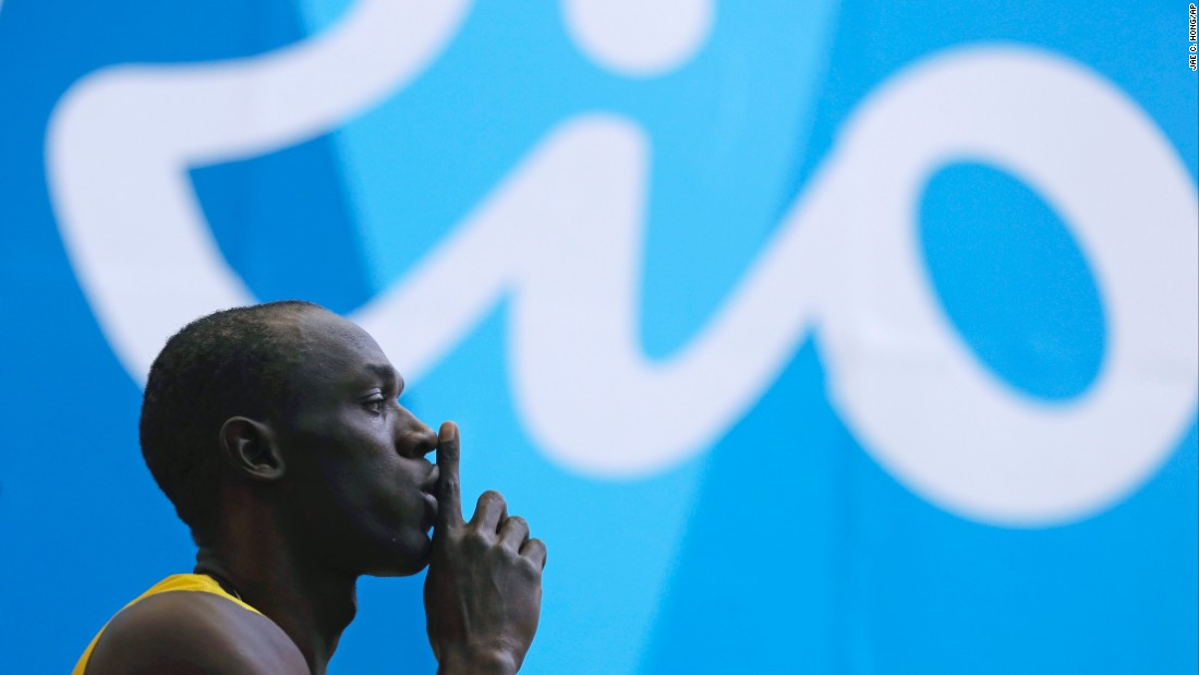 Bolt arrives at the Olympic Stadium in Rio to compete in the men's 100-meter. He won the event for the third straight Olympic Games.