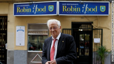 MADRID, SPAIN - DECEMBER 05:  Father Angel 79 poses for a portrait outside Robin Hood restaurant on December 5, 2016 in Madrid, Spain. Association Messengers Of Peace 'Mensajeros De La Paz' opened Robin Hood restaurant last week to give free dinner to homeless people, by charging to paying clients at breakfast and lunch. With this initiative, founder and president of the association Father Angel Garcia Rodriguez 79, wants to give dignity to homeless people and an equal treatment to everyone.  (Photo by Pablo Blazquez Dominguez/Getty Images)