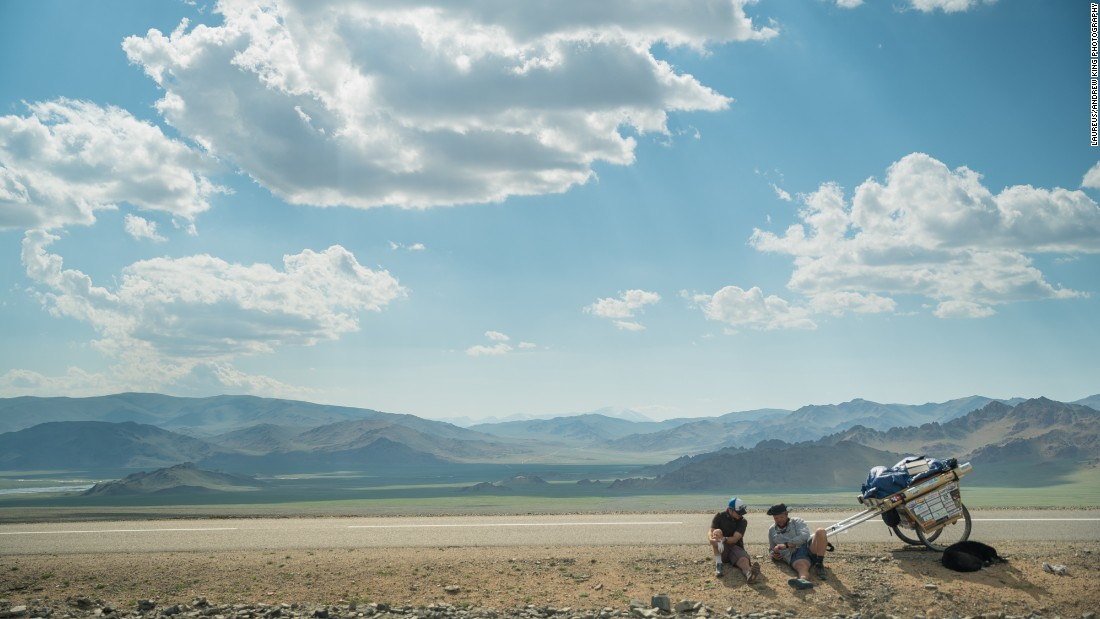 The three travelers take a break in the Mongolian sun.