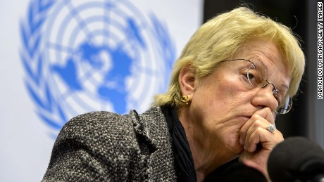 Former United Nations (UN) Swiss prosecutor and member of a UN-mandated commission of inquiry on the Syria conflict, Carla del Ponte looks on during a press conference on February 18, 2013 in Geneva. The International Criminal Court should be called in to probe war crimes in Syria, former UN prosecutor Carla del Ponte said on February 18.  AFP PHOTO / FABRICE COFFRINI        (Photo credit should read FABRICE COFFRINI/AFP/Getty Images)