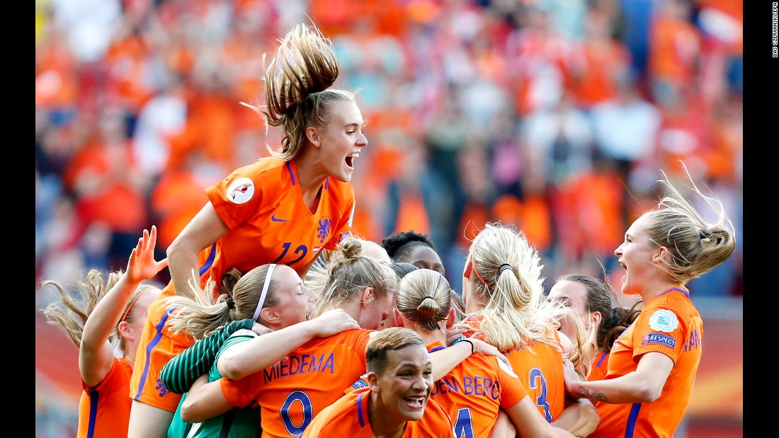 Dutch soccer players celebrate after winning Euro 2017 on Sunday, August 6. The Netherlands defeated Austria 4-2 in the final.