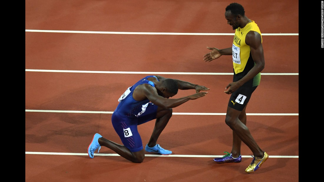 "American sprinter Justin Gatlin bows down to Jamaica's Usain Bolt after the World Championships' 100-meter final on Saturday, August 5. Gatlin finished first in what was <a href=""http://www.cnn.com/2017/08/05/sport/justin-gatlin-usain-bolt-100m-world-athletics-championships/index.html"" target=""_blank"">Bolt's final race before retirement.</a> Bolt had to settle for a bronze, ending <a href=""http://www.cnn.com/2017/08/06/sport/gallery/usain-bolt-life-and-career/index.html"" target=""_blank"">a legendary career</a> that included eight Olympic gold medals and world records in the 100 and 200 meters."