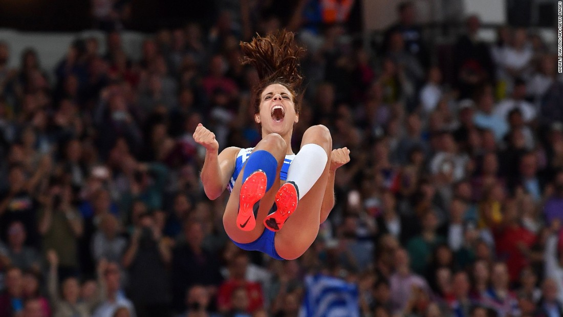 Greek pole-vaulter Ekaterini Stefanidi celebrates after winning gold at the World Championships on Sunday, August 6. She also won Olympic gold last year in Rio de Janeiro.