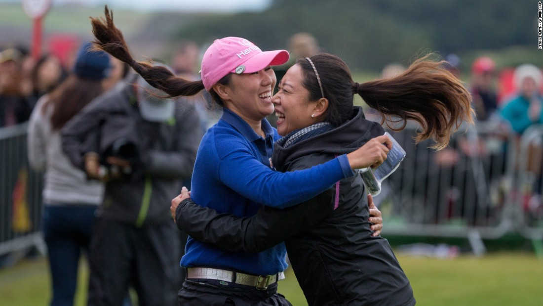"Pro golfer In-Kyung Kim, left, celebrates with her manager after winning the Women's British Open on Sunday, August 6. It was the South Korean's <a href=""http://www.cnn.com/2017/08/07/golf/british-open-south-korea-ik-kim-major-golf-kingsbarn-jodi-ewart-shadoff/index.html"" target=""_blank"">first major victory,</a> five years after her nightmarish loss at the Kraft Nabisco Championship."