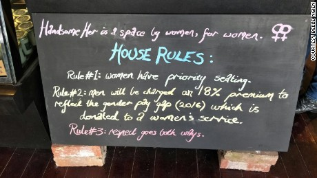This sign lays out of the policy at Handsome Her, a Melbourne, Australia café where men are invited to pay 18% more to reflect the gender pay gap.