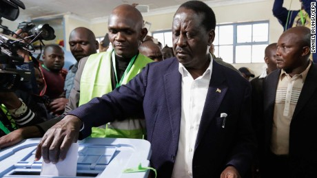 Raila Odinga casts his ballot in Nairobi on Tuesday.