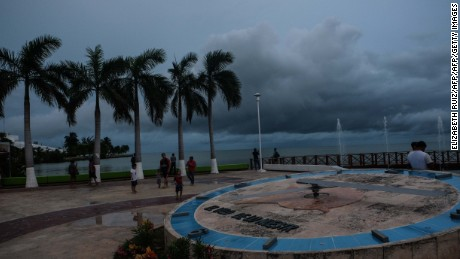 Residents remain along the coast way while a storm is approaching in Chetumal, Quintana Roo state, Mexico on August 7, 2017.  Local government decrees red alert by approach and not by danger of tropical storm Franklin between Chetumal and Punta Allen. Mexico, Belize and Guatemala braced Monday for Tropical Storm Franklin, expected to make landfall overnight on the southern Mexican coast -- possibly at hurricane strength. / AFP PHOTO / ELIZABETH RUIZ        (Photo credit should read ELIZABETH RUIZ/AFP/Getty Images)