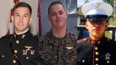 Marines 1st Lt. Benjamin R. Cross, Cpl. Nathaniel F. Ordway and Pfc. Ruben P. Velasco (l-r) died in an accident which occurred while attempting to land a MV-22 Osprey aircraft on a Navy ship.