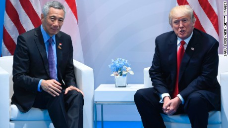 US President Donald Trump and Singapore Prime Minister Lee meet at the G20 Summit in Germany, July 8.