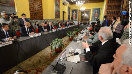 "Foreign ministers of at least 14 Latin American and Caribbean nations and Canada meet in Lima on August 8, 2017 to evaluate further measures against Venezuela after the Mercosur indefinitely suspended it from the trading bloc for breaking ""democratic order."" Peru has urged that Maduro's government be condemned for carrying out ""a new form of coup d'etat"" through the appointment of the ""unconstitutional"" Constituent Assembly, diplomatic sources said. It also wants the group to condemn the assembly's firing of Venezuela's attorney general, Luisa Ortega, an outspoken critic of Maduro's after breaking ranks with him.  / AFP PHOTO / Cris BOURONCLE        (Photo credit should read CRIS BOURONCLE/AFP/Getty Images)"