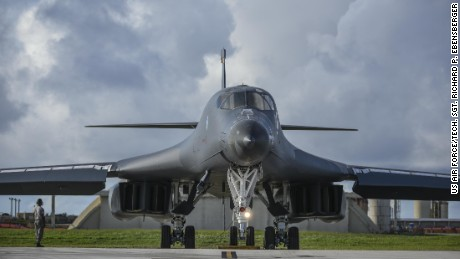 CAPTION: A U.S. Air Force B-1B Lancer assigned to the 37th Expeditionary Bomb Squadron, deployed from Ellsworth Air Force Base, South Dakota, prepares to take off from Andersen Air Force Base, Guam, for a 10-hour mission, flying in the vicinity of Kyushu, Japan, the East China Sea, and the Korean peninsula, Aug. 7, 2017 (HST). During the mission, the B-1s were joined by Japan Air Self-Defense Force F-15s as well as Republic of Korea Air Force KF-16 fighter jets, performing two sequential bilateral missions. These flights with Japan and the Republic of Korea (ROK) demonstrate solidarity between Japan, ROK and the U.S. to defend against provocative and destabilizing actions in the Pacific theater. (U.S. Air Force photo/Tech. Sgt. Richard P. Ebensberger)