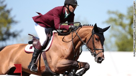 HAMBURG, GERMANY - MAY 07:  Sheikh Ali Bin Khalid Al Thani of Qatar riding First Devision during the Global Champions Tour Grand Prix of Hamburg on May 7, 2016 in Hamburg, Germany.  (Photo by Oliver Hardt/Bongarts/Getty Images)