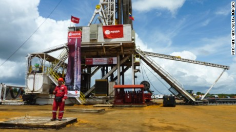 An oil well operated by Venezuela's state-owned oil company PDVSA in Morichal, Venezuela, on July 28, 2011. Venezuela will fulfill its compromise of co-financing with its Brazilian counterpart Petrobras the construction of the Abreu y Lima oil refinery that would process 240,000 oil drums per day, venezuela's Oil and Energy Minister Rafael Ramirez said on July 29, 2011.   AFP PHOTO/Ramon SAHMKOW (Photo credit should read RAMON SAHMKOW/AFP/Getty Images)